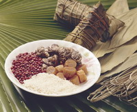 Rice dumplings and their ingredients