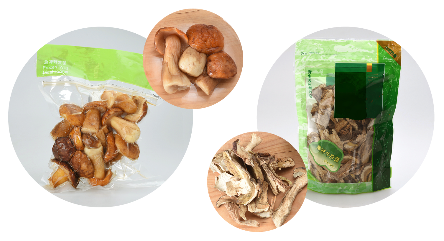 Figure 2: Besides fresh, porcini may be traded as canned, frozen (left), and dried (left).